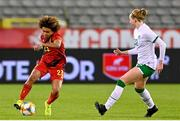 11 April 2021; Kassandra Missipo of Belgium in action against Hayley Nolan of Republic of Ireland during the women's international friendly match between Belgium and Republic of Ireland at King Baudouin Stadium in Brussels, Belgium. Photo by David Catry/Sportsfile