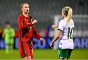 11 April 2021; Julie Biesmans of Belgium and Denise O'Sullivan of Republic of Ireland after the women's international friendly match between Belgium and Republic of Ireland at King Baudouin Stadium in Brussels, Belgium. Photo by David Catry/Sportsfile