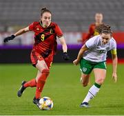 11 April 2021; Tessa Wullaert of Belgium in action against Katie McCabe of Republic of Ireland during the women's international friendly match between Belgium and Republic of Ireland at King Baudouin Stadium in Brussels, Belgium. Photo by David Catry/Sportsfile