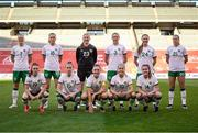 11 April 2021; The Republic of Ireland team, back row, from left, Diane Caldwell, Claire Walsh, goalkeeper Courtney Brosnan, Megan Connolly, Kyra Carusa and Ruesha Littlejohn. Front row, from left, Alli Murphy, Claire O'Riordan, captain Katie McCabe, Denise O'Sullivan and Heather Payne before the women's international friendly match between Belgium and Republic of Ireland at King Baudouin Stadium in Brussels, Belgium. Photo by David Catry/Sportsfile