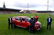 13 April 2021; Bohemians have taken two significant actions in the fight against climate change. Firstly, by signing up, through our Climate Justice Officer, to the UN's Sports for Climate Action Framework and, secondly, by announcing MG Motor Ireland as the club's Official Vehicle Partner for 2021. The partnership will see club players and manager Keith Long drive 100% electric vehicles. Pictured at Dalymount Park in Dublin are, from left, Andrew Johnson, Sales Manager, MG Motor Ireland, James Talbot, Bohemians goalkeeper, Keith Long, Bohemians Manager, Sean McCabe, Bohemians Climate Officer and Gerard Rice, Managing Director, MG Motor Ireland. Photo by Sam Barnes/Sportsfile
