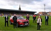 13 April 2021; Bohemians have taken two significant actions in the fight against climate change. Firstly, by signing up, through our Climate Justice Officer, to the UN's Sports for Climate Action Framework and, secondly, by announcing MG Motor Ireland as the club's Official Vehicle Partner for 2021. The partnership will see club players and manager Keith Long drive 100% electric vehicles. Pictured at Dalymount Park in Dublin are, from left, Andrew Johnson, Sales Manager, MG Motor Ireland, Keith Long, Bohemians Manager, James Talbot, Bohemians goalkeeper, Sean McCabe, Bohemians Climate Officer, Natasha Maher, Marketing Manager, MG Motor Ireland, and Gerard Rice, Managing Director, MG Moto Ireland. Photo by Sam Barnes/Sportsfile