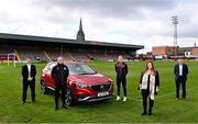 13 April 2021; Bohemians have taken two significant actions in the fight against climate change. Firstly, by signing up, through our Climate Justice Officer, to the UN's Sports for Climate Action Framework and, secondly, by announcing MG Motor Ireland as the club's Official Vehicle Partner for 2021. The partnership will see club players and manager Keith Long drive 100% electric vehicles. Pictured at Dalymount Park in Dublin are, from left, Andrew Johnson, Sales Manager, MG Motor Ireland, Keith Long, Bohemians Manager, James Talbot, Bohemians goalkeeper, Natasha Maher, Marketing Manager, MG Motor Ireland, and Gerard Rice, Managing Director, MG Moto Ireland. Photo by Sam Barnes/Sportsfile