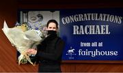 13 April 2021; Jockey Rachael Blackmore poses for a photo with a bouquet of flowers which were presented to her for her Grand National victory prior to racing at Fairyhouse Racecourse in Ratoath, Meath. Photo by David Fitzgerald/Sportsfile