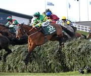 10 April 2020; Minella Times, with Rachael Blackmore up, take the water jump on their way to winning the Randox Grand National at the Aintree Racecourse in Liverpool, England. Photo by Hugh Routledge/Sportsfile