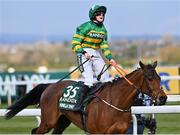10 April 2020; Rachael Blackmore celebrates on Minella Times after winning the Randox Grand National at the Aintree Racecourse in Liverpool, England. Photo by Hugh Routledge/Sportsfile