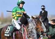 10 April 2020; Minella Times is cooled down with a bucket of water by jockey Rachael Blackmore after winning the Randox Grand National at the Aintree Racecourse in Liverpool, England. Photo by Hugh Routledge/Sportsfile