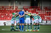 13 April 2021; Shamrock Rovers players huddle before the SSE Airtricity League Premier Division match between Derry City and Shamrock Rovers at the Ryan McBride Brandywell Stadium in Derry. Photo by Stephen McCarthy/Sportsfile