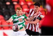 13 April 2021; Rory Gaffney of Shamrock Rovers in action against Eoin Toal of Derry City during the SSE Airtricity League Premier Division match between Derry City and Shamrock Rovers at the Ryan McBride Brandywell Stadium in Derry. Photo by Stephen McCarthy/Sportsfile