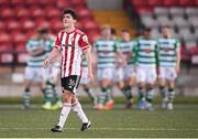 13 April 2021; Brendan Barr of Derry City reacts after his side condede their first goal during the SSE Airtricity League Premier Division match between Derry City and Shamrock Rovers at the Ryan McBride Brandywell Stadium in Derry. Photo by Stephen McCarthy/Sportsfile