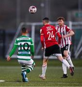 13 April 2021; Graham Burke of Shamrock Rovers shoots to score his side's second goal, from the half-way line, during the SSE Airtricity League Premier Division match between Derry City and Shamrock Rovers at the Ryan McBride Brandywell Stadium in Derry. Photo by Stephen McCarthy/Sportsfile