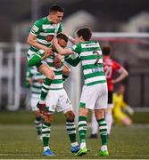 13 April 2021; Graham Burke, centre, celebrates after scoring his side's second goal with Shamrock Rovers team-mates Gary O'Neill, top, and Sean Gannon during the SSE Airtricity League Premier Division match between Derry City and Shamrock Rovers at the Ryan McBride Brandywell Stadium in Derry. Photo by Stephen McCarthy/Sportsfile