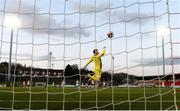 13 April 2021; Derry City goalkeeper Nathan Gartside fails to save the shot of Graham Burke of Shamrock Rovers to concede his side's second goal during the SSE Airtricity League Premier Division match between Derry City and Shamrock Rovers at the Ryan McBride Brandywell Stadium in Derry. Photo by Stephen McCarthy/Sportsfile