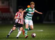 13 April 2021; Liam Scales of Shamrock Rovers in action against Brendan Barr of Derry City during the SSE Airtricity League Premier Division match between Derry City and Shamrock Rovers at the Ryan McBride Brandywell Stadium in Derry. Photo by Stephen McCarthy/Sportsfile