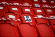 13 April 2021; A general view of the seating at the Ryan McBride Brandywell Stadium before the SSE Airtricity League Premier Division match between Derry City and Shamrock Rovers at the Ryan McBride Brandywell Stadium in Derry. Photo by Stephen McCarthy/Sportsfile