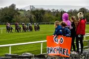 16 April 2021; Local children, from left, Will, age 4, and Annabelle Burke, age 5, and sisters Lauren, age 9, Chloe, age 10 and Emma Stagg, age 11, from Hollymount, Co Mayo, cheer on jockey Rachael Blackmore as she wins the McGrath Limestone Works Handicap Hurdle on Zoffanien at Ballinrobe Racecourse in Mayo. Photo by David Fitzgerald/Sportsfile