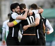 16 April 2021; Kurtis Byrne, centre, of Athlone Town is congratulated by team-mates Adam Wixted, left, and Aidan Friel, after he scored his side's second goal during the SSE Airtricity League First Division match between Bray Wanderers and Athlone Town at the Carlisle Grounds in Bray, Wicklow. Photo by Matt Browne/Sportsfile