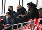 16 April 2021; Dundalk coaches Filippo Giovagnoli, right, and Giuseppi Rossi in attendance during the SSE Airtricity League Premier Division match between Derry City and Drogheda United at the Ryan McBride Brandywell Stadium in Derry. Photo by Stephen McCarthy/Sportsfile
