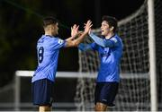 16 April 2021; Donal Higgins of UCD, left, celebrates with team-mate Colm Whelan after scoring his side's fourth goal during the SSE Airtricity League First Division match between UCD and Cabinteely at the UCD Bowl in Belfield, Dublin. Photo by Piaras Ó Mídheach/Sportsfile