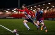 16 April 2021; Will Fitzgerald of Derry City in action against Darragh Markey of Drogheda United during the SSE Airtricity League Premier Division match between Derry City and Drogheda United at the Ryan McBride Brandywell Stadium in Derry. Photo by Stephen McCarthy/Sportsfile