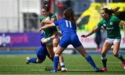 17 April 2021; Eimear Considine of Ireland is tackled by Carla Neisen and Cyrielle Banet of France during the Women's Six Nations Rugby Championship match between Ireland and France at Energia Park in Dublin. Photo by Sam Barnes/Sportsfile