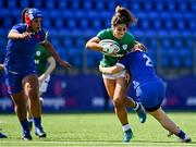 17 April 2021; Sene Naoupu of Ireland is tackled by Agathe Sochat of France during the Women's Six Nations Rugby Championship match between Ireland and France at Energia Park in Dublin. Photo by Sam Barnes/Sportsfile