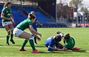 17 April 2021; Caroline Boujard of France scores her second and her side's sixth try despite the tackle of Ciara Griffin of Ireland during the Women's Six Nations Rugby Championship match between Ireland and France at Energia Park in Dublin. Photo by Sam Barnes/Sportsfile