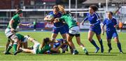 17 April 2021; Marjorie Mayans of France is tackled by Ireland players, from left, Ciara Griffin, Eimear Considine and Hannah Tyrrell during the Women's Six Nations Rugby Championship match between Ireland and France at Energia Park in Dublin. Photo by Sam Barnes/Sportsfile