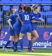 17 April 2021; Romane Menager of France, right, celebrates with team-mates after scoring their side's seventh try during the Women's Six Nations Rugby Championship match between Ireland and France at Energia Park in Dublin. Photo by Sam Barnes/Sportsfile
