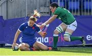 17 April 2021; Romane Menager of France scores her side's seventh try despite the efforts of Hannah O'Connor of Ireland during the Women's Six Nations Rugby Championship match between Ireland and France at Energia Park in Dublin. Photo by Sam Barnes/Sportsfile