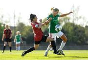 17 April 2021; Éabha O'Mahony of Cork City is tackled by Abbie Brophy of Bohemians during the SSE Airtricity Women's National League match between Bohemians and Cork City at Oscar Traynor Coaching & Development Centre in Coolock, Dublin. Photo by Eóin Noonan/Sportsfile