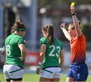 17 April 2021; Referee Sara Cox shows a yellow card to Amee-Leigh Murphy Crowe of Ireland, in the company of Ireland captain Ciara Griffin, during the Women's Six Nations Rugby Championship match between Ireland and France at Energia Park in Dublin. Photo by Sam Barnes/Sportsfile