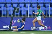17 April 2021; Cyrielle Banet of France scores her side's eighth try despite the efforts of Stacey Flood of Ireland during the Women's Six Nations Rugby Championship match between Ireland and France at Energia Park in Dublin. Photo by Sam Barnes/Sportsfile