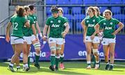 17 April 2021; Ireland captain Ciara Griffin, centre, and her team-mates after France scored their eighth try during the Women's Six Nations Rugby Championship match between Ireland and France at Energia Park in Dublin. Photo by Sam Barnes/Sportsfile