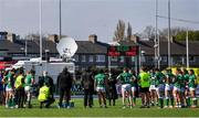 17 April 2021; The Ireland team gather together after the Women's Six Nations Rugby Championship match between Ireland and France at Energia Park in Dublin. Photo by Sam Barnes/Sportsfile