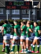 17 April 2021; The final score is seen as the Ireland team gather together after the Women's Six Nations Rugby Championship match between Ireland and France at Energia Park in Dublin. Photo by Sam Barnes/Sportsfile