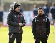 17 April 2021; Dundalk coach Filippo Giovagnoli, left, and Dundalk coach Giuseppi Rossi before the SSE Airtricity League Premier Division match between Dundalk and St Patrick's Athletic at Oriel Park in Dundalk, Louth. Photo by Stephen McCarthy/Sportsfile