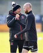 17 April 2021; Dundalk coach Filippo Giovagnoli fist bumps Chris Shields of Dundalk before the SSE Airtricity League Premier Division match between Dundalk and St Patrick's Athletic at Oriel Park in Dundalk, Louth. Photo by Stephen McCarthy/Sportsfile