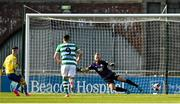 17 April 2021; Dylan Grimes of Longford Town, left, scores his side's first goal from a penalty during the SSE Airtricity League Premier Division match between Shamrock Rovers and Longford Town at Tallaght Stadium in Dublin. Photo by Eóin Noonan/Sportsfile