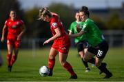 17 April 2021; Saoirse Noonan of Shelbourne in action against Karen Duggan of Peamount United during the SSE Airtricity Women's National League match between Peamount United and Shelbourne at PLR Park in Greenogue, Dublin. Photo by Ramsey Cardy/Sportsfile