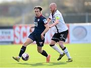 17 April 2021; Matty Smith of St Patrick's Athletic in action against Chris Shields of Dundalk during the SSE Airtricity League Premier Division match between Dundalk and St Patrick's Athletic at Oriel Park in Dundalk, Louth. Photo by Stephen McCarthy/Sportsfile