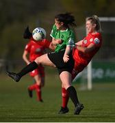 17 April 2021; Della Doherty of Peamount United in action against Saoirse Noonan of Shelbourne during the SSE Airtricity Women's National League match between Peamount United and Shelbourne at PLR Park in Greenogue, Dublin. Photo by Ramsey Cardy/Sportsfile