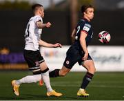 17 April 2021; Matty Smith of St Patrick's Athletic in action against Cameron Dummigan of Dundalk during the SSE Airtricity League Premier Division match between Dundalk and St Patrick's Athletic at Oriel Park in Dundalk, Louth. Photo by Ben McShane/Sportsfile