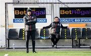 17 April 2021; Dundalk coach Filippo Giovagnoli, left, and Dundalk coach Giuseppi Rossi in the dugout during the SSE Airtricity League Premier Division match between Dundalk and St Patrick's Athletic at Oriel Park in Dundalk, Louth. Photo by Stephen McCarthy/Sportsfile