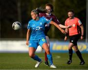 17 April 2021; Nadiine Clare of DLR Waves in action against Kate Slevin of Galway Women during the SSE Airtricity Women's National League match between DLR Waves and Galway Women at UCD Bowl in Belfield, Dublin. Photo by Matt Browne/Sportsfile