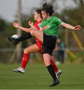 17 April 2021; Della Doherty of Peamount United in action against Emily Whelan of Shelbourne during the SSE Airtricity Women's National League match between Peamount United and Shelbourne at PLR Park in Greenogue, Dublin. Photo by Ramsey Cardy/Sportsfile