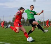 17 April 2021; Emily Whelan of Shelbourne in action against Claire Walsh of Peamount United during the SSE Airtricity Women's National League match between Peamount United and Shelbourne at PLR Park in Greenogue, Dublin. Photo by Ramsey Cardy/Sportsfile