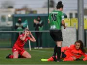 17 April 2021; Saoirse Noonan of Shelbourne reacts after a missed chance during the SSE Airtricity Women's National League match between Peamount United and Shelbourne at PLR Park in Greenogue, Dublin. Photo by Ramsey Cardy/Sportsfile