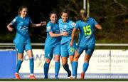 17 April 2021; Kate Mooney, 23, celebrates her goal with team-mates from left Shauna Carroll, Rachel Doyle and Nadine Clare of DLR Waves during the SSE Airtricity Women's National League match between DLR Waves and Galway Women at UCD Bowl in Belfield, Dublin. Photo by Matt Browne/Sportsfile