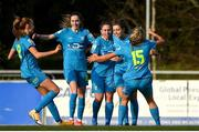 17 April 2021; Kate Mooney, second from right, celebrates her goal with team-mates, from left, Niamh Prior, Shauna Carroll, Rachel Doyle and Nadine Clare of DLR Waves during the SSE Airtricity Women's National League match between DLR Waves and Galway Women at UCD Bowl in Belfield, Dublin. Photo by Matt Browne/Sportsfile